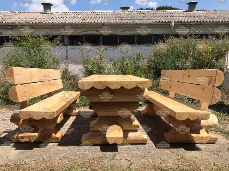 """Стол и скамья из цилиндрического бревна модель & quot; Эвридика"""" - 3 части"""